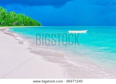 Deserted Tropical Beach And Lonely Boat