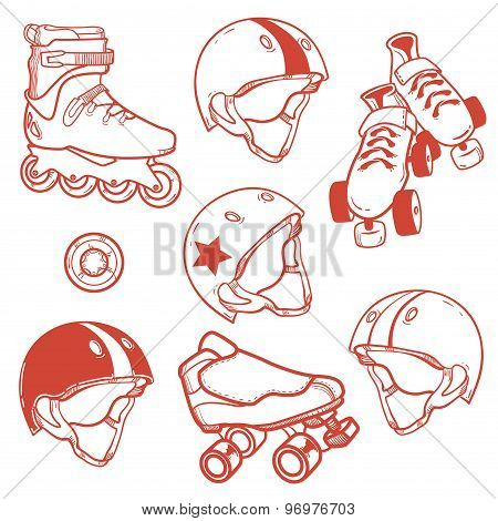 Set Of Roller Skates, Helmets, Wheel