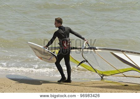 Kite boarder on surfing on beautiful sea