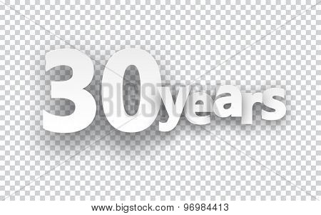Thirty years paper sign over cells. Vector illustration.  poster