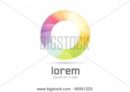Vector logo template. Abstract circle shape and symbol, icon or creative, idea, flow. Stock illustra