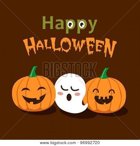 Vector Cute Happy Halloween design template