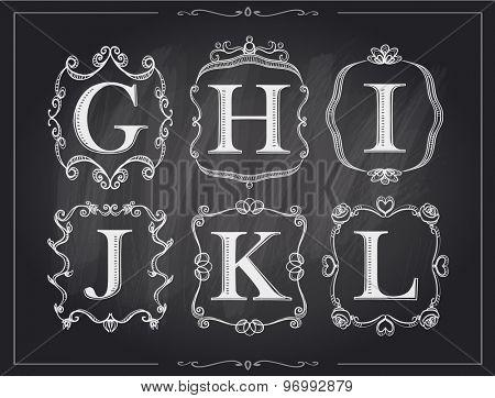 Blackboard chalk vintage calligraphic letters in monogram retro frames, alphabet logos set - G, H, I, J, K, L