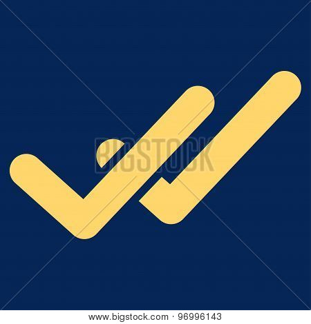 Validation icon from Business Bicolor Set. This flat raster symbol uses yellow color, rounded angles, and isolated on a blue background. poster