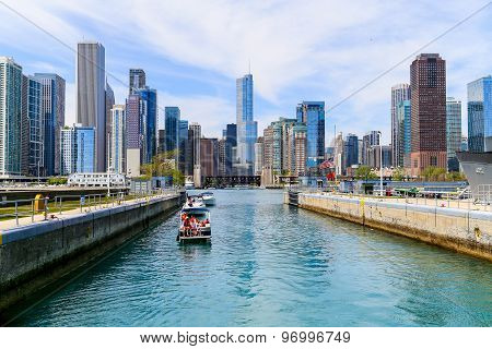 Chicago Lock with Skyline