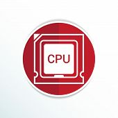 Icon of cpu microprocessor sign symbol process. poster