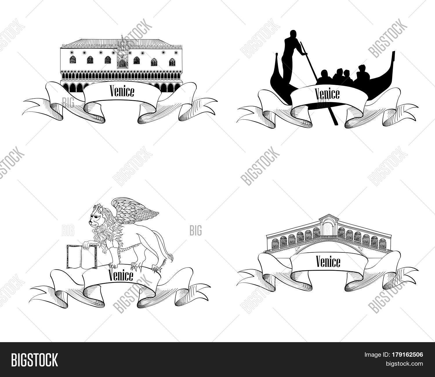 Venice Symbol Set. Gondola Rialto Vector & Photo | Bigstock