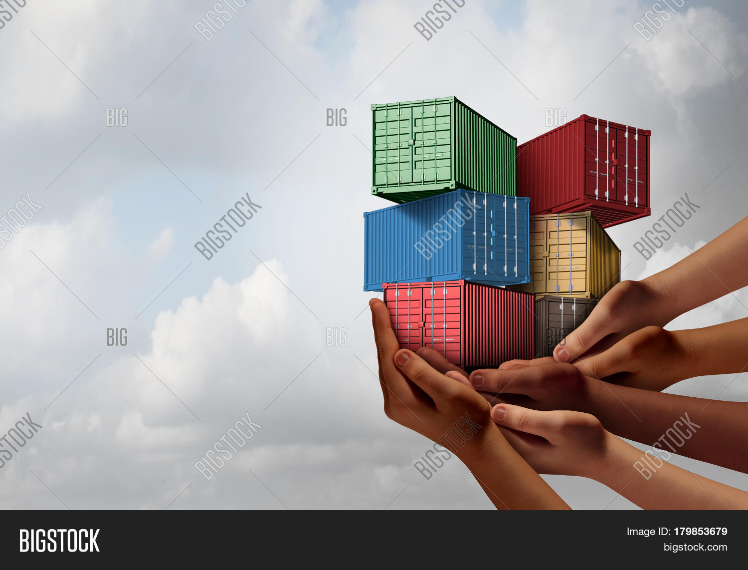Cargo group shipping concept image photo bigstock cargo group shipping concept and international free trade agreement symbol as a group of diverse ethnic platinumwayz