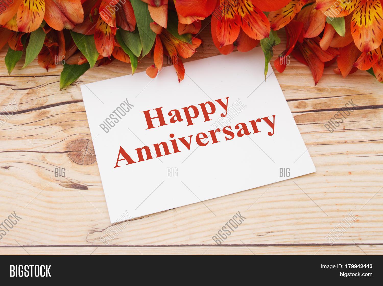 Happy anniversary greeting bouquet image photo bigstock
