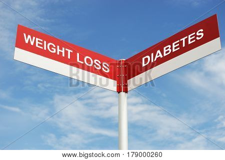 weight loss or diabetes text on road sign