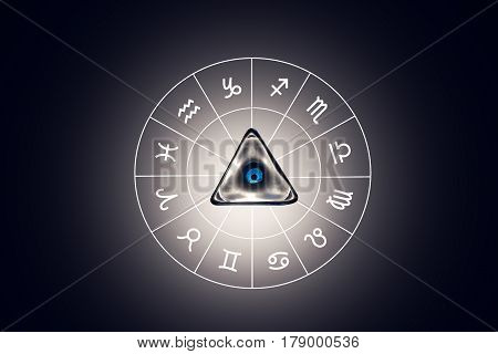 Zodiac circle with astrology sings on the black background