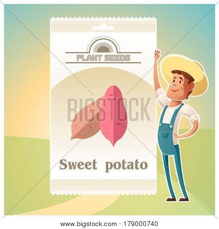 Vector image of the Pack of Sweet potato seeds