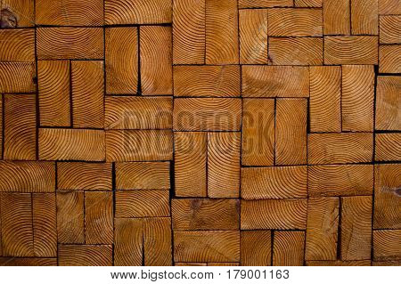 Decorative wooden background texture wooden ecological brick natural colored