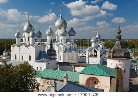 Assumption Cathedral And Church Of The Resurrection In Rostov Kremlin.