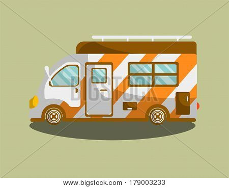Camper trailer or camper bus vector isolated flat icon. Mobile motorhome van or car vehicle for holiday trip or travel coach