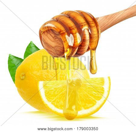lemon and honey dripping isolated on a white background