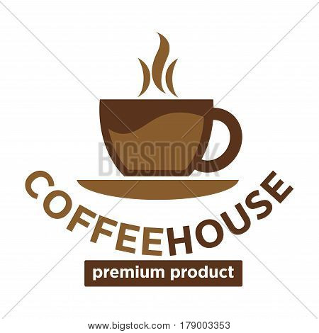 Coffeehouse vector logo template. Isolated hot coffee cup steam or espresso mug design for coffeeshop cafeteria or cafe sign
