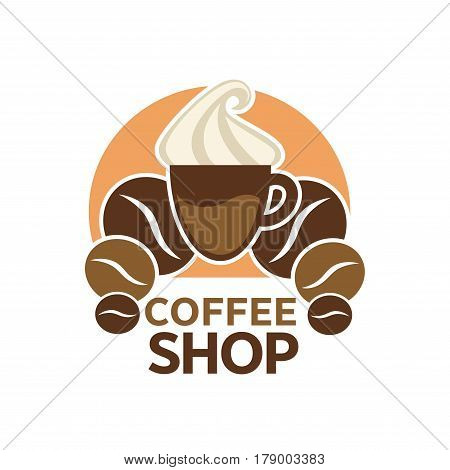 Coffeeshop vector logo template. Isolated coffee hot or cold cup with frappe cream, coffee beans design for coffeehouse cafeteria or cafe sign