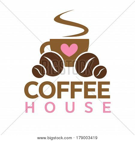 Coffeehouse vector logo template. Isolated coffee cup hot steam, coffee beans and heart design for coffeeshop cafeteria or cafe sign
