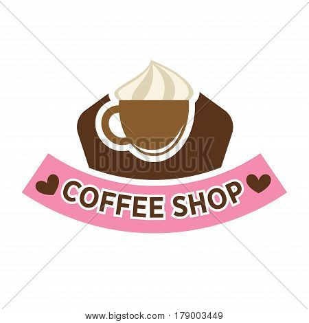 Coffeeshop vector logo template. Isolated coffee cup of creamy cappuccino and pink ribbon banner with hearts design for coffeehouse cafeteria or cafe sign