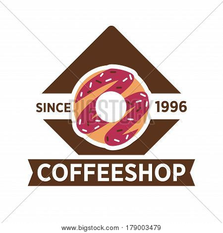 Coffeeshop vector logo template. Isolated brown coffee or chocolate donut cookie design for coffeehouse cafeteria or cafe sign