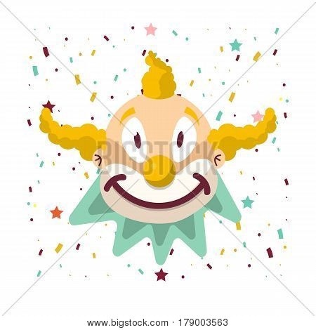 Clown face smile in yellow wig and frill. Vector isolated icon of cartoon circus funny comic man or smiling character on birthday confetti background