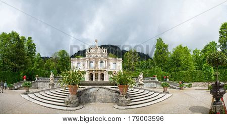 Panorama Of The Linderhof Palace - Schloss In Ettal, Germany.