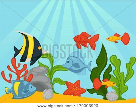 Tropical exotic fishes in aquarium or ocean underwater. Vector illustration of fish tank with goldfish, clownfish, corals or seaweed algae and starfish. Sea life background