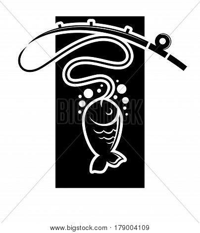Fishing vector logo template with fish catch on hook. Fisherman or fisher sport club isolated icon silhouette for fishery industry