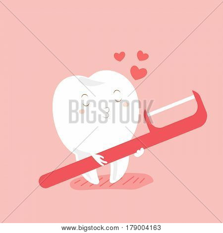 cute cartoon love teeth and floss with pink background