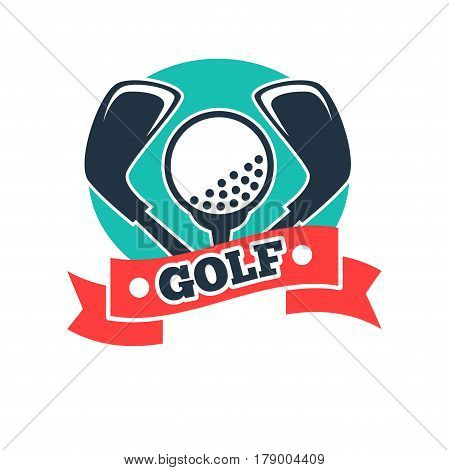 Golf club vector logo template with golfer ball on pin, clubs and red ribbon. Symbol for country sport team membership or tournament