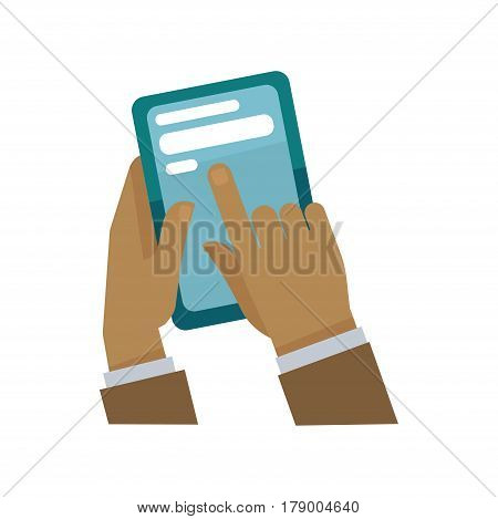Hands and fingers tapping smartphone or tab display for chat or messaging and information reading. Vector flat icon for infographics element