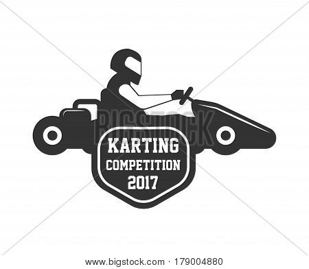 Karting club or kart races competition vector logo template. Isolated icon or badge of racing car and racer driver in safety helmet