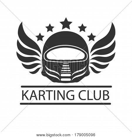 Karting club or kart races vector logo template. Isolated icon of racer driver safety helmet with wings and victory stars. Badge for motor sport championship tournament