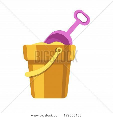 Kid toy of sand bucket with scoop in sandbox. Children plaything vector flat isolated icon for kindergarten design element