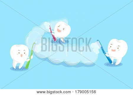 cute cartoon teeth brush invisible braces on blue background