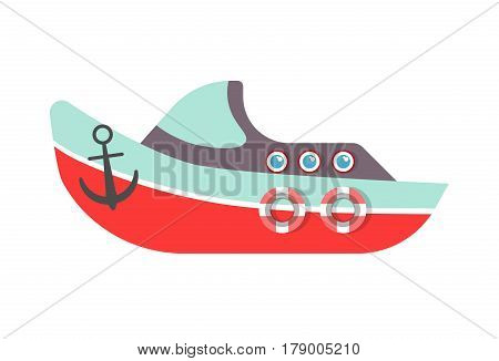 Kid toy of ship boat or yach with anchor. Children plaything vector flat isolated icon for kindergarten design element