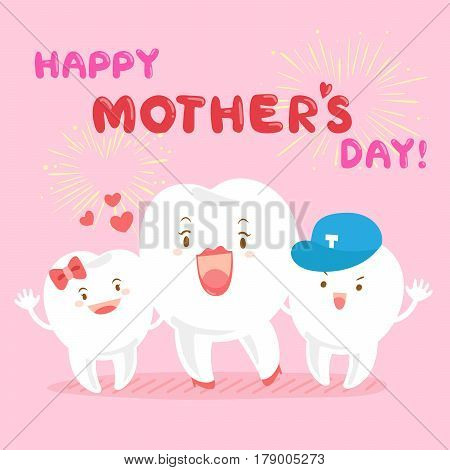 cute cartoon tooth family smile happily with happy mother day