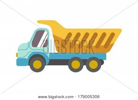 Kid toy tipper truck or loader lorry. Children plaything vector flat isolated icon for kindergarten design element