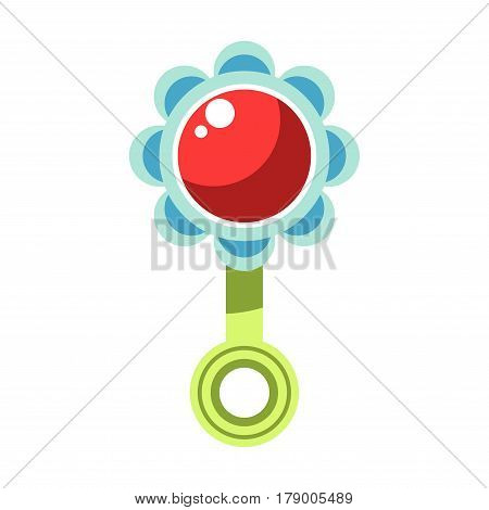 Kid toy infant rattle in flower shape. Children plaything vector flat isolated icon for kindergarten design element