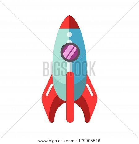 Kid toy rocket spaceship. Children plaything vector flat isolated icon for kindergarten design element