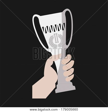 Champion victory cup award in winner hand. Vector flat isolated icon or logo of goblet prize