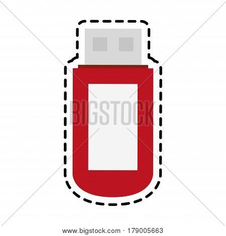 usb flash disk icon over white background. colorful design. vector illustration