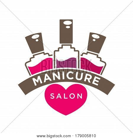Manicure salon or nails design studio vector logo template. Nail pink or red polish bottles and heart isolated flat icon
