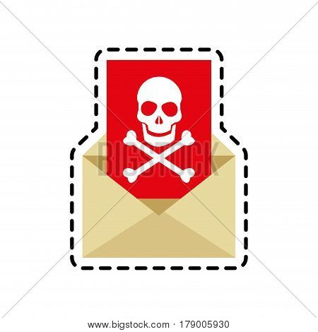 envelope with skull icon over white background. cyber security concept. colorful design. vector illustraiton