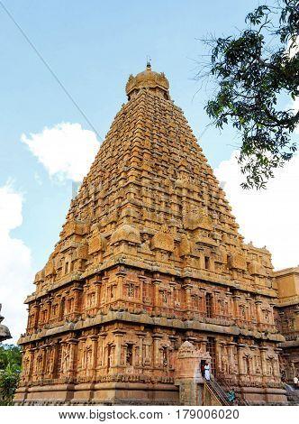 Brahadeeshwara temple main gopuram captured at Tanjore, India on January 28th, 2017