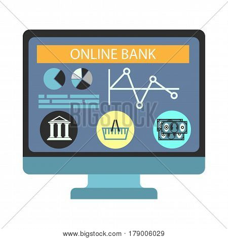 Online internet banking payment vector flat icon. Financial operation with bank money transfer concept for infographics element