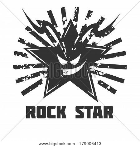 Rock band vector logo template. Symbol of star skull and grunge light rays for rocker music festival or label design