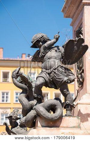 The Mariensaule. Statue Of A Putto By Ferdinand Murmann. Munich, Germany.