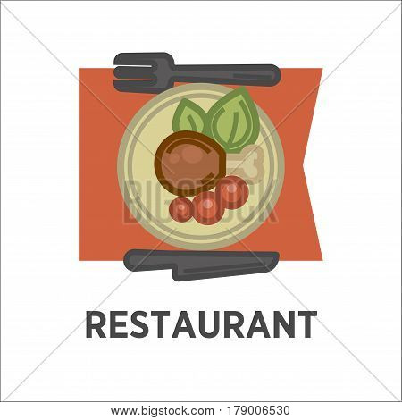 Restaurant logo vector template. Symbol of breakfast or lunch dish plate with steak cutlet and garnish on table. Fork and knife tableware isolated icon